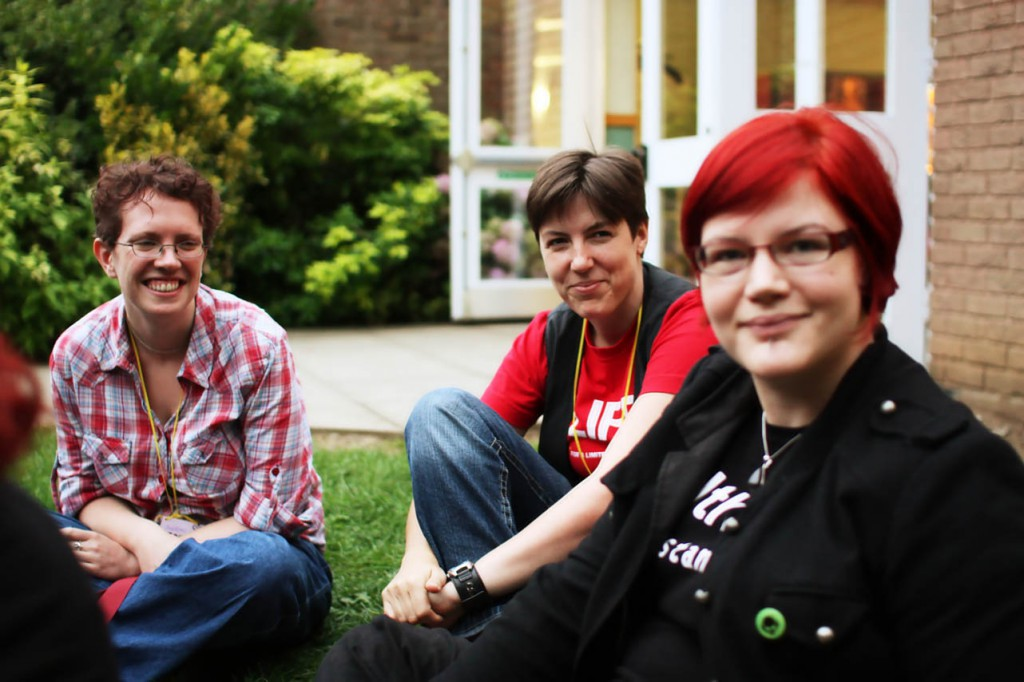 BiCon bisexuality convention - group of three people outdoors