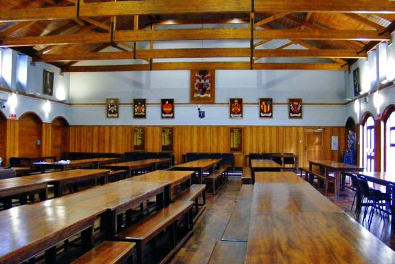 BiCon 2015 dining hall and ball space - long tables, wooden floor, wooden panelling