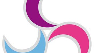 BiCon 2015 bisexuality conference logo - three moons in windmill configuration